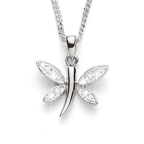 Sterling Silver Diamond Dragonfly Pendant