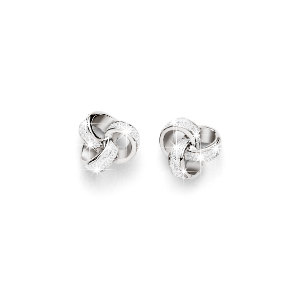 Sterling Silver Diamond Knot Studs