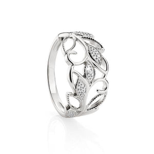 Sterling Silver Diamond set leaf ring
