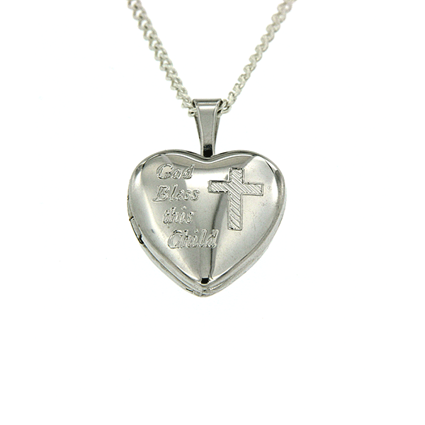 Sterling Silver 'God Bless This Child' Heart Locket