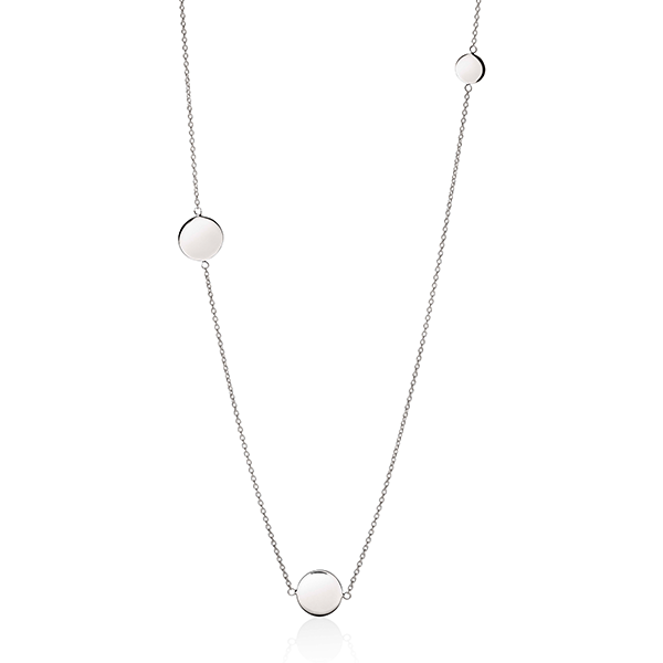 Sterling Silver Polished Disc Necklet 80cm