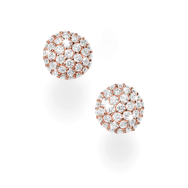 Sterling Silver Rose Cubic Zirconia Studs