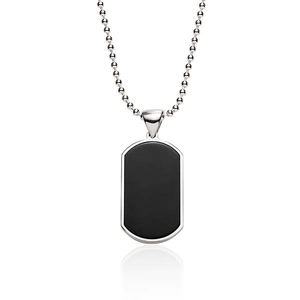 Sterling Silver and Onyx Dog Tag and Chain