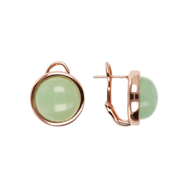 Bronzallure Cabochon Aqua Jade Earrings