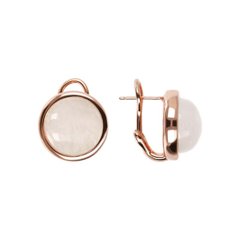 Bronzallure Cabochon White Moonstone Earrings