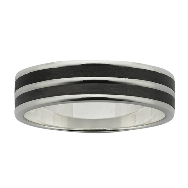 ZiRO Sterling Silver Ring with Two Black Zirconium inlays