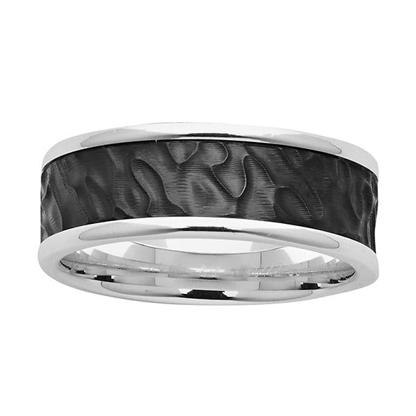 ZiRO Sterling Silver and Black Zirconium Ripple Ring