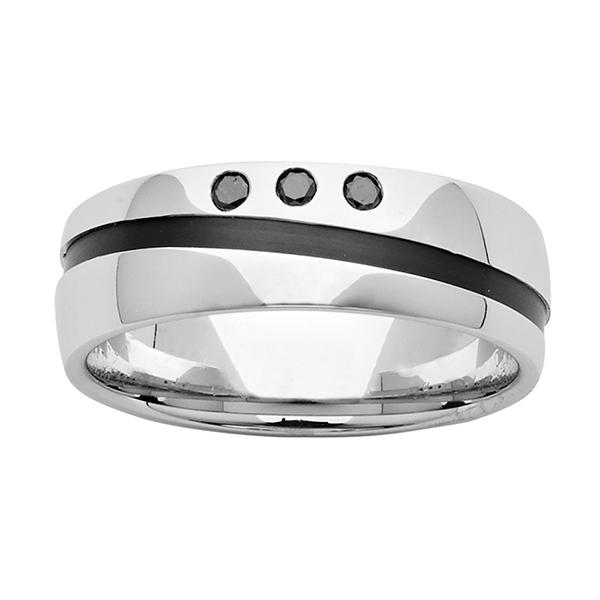 ZiRO Sterling Silver with Black Zirconium and Black Diamond Ring