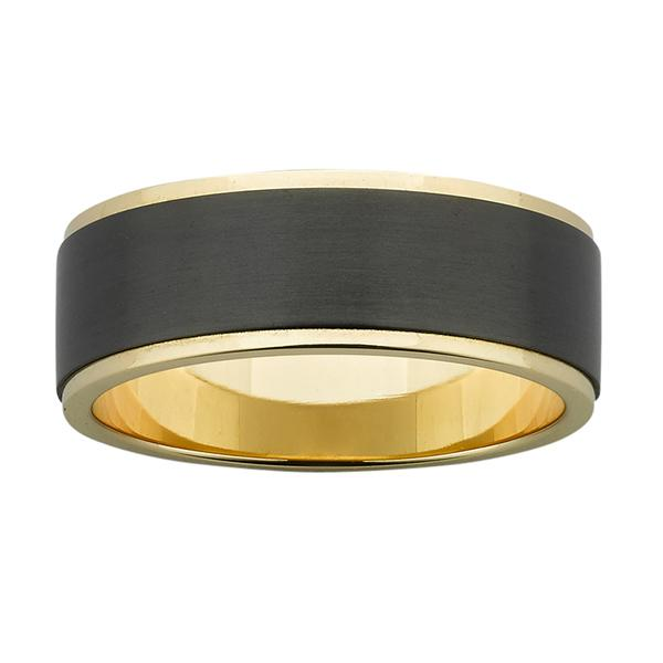 ZiRO Yellow Gold & Black Zirconium Ring