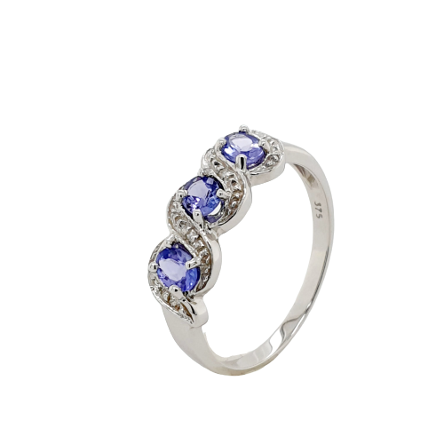 9ct WG claw set 3 stone oval tanzanite & pave diamond ring