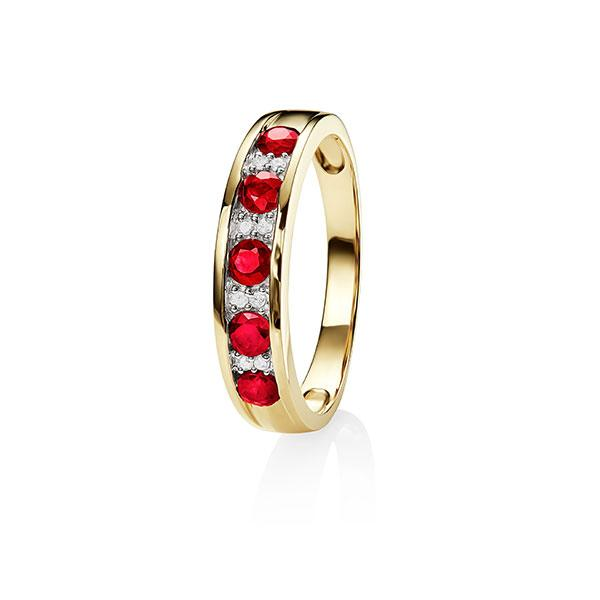 9Ct Gold Natural Ruby & Diamond Ring