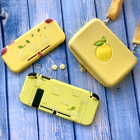 Lemon Shell - Nintendo Switch or Lite Shell Case and Thumb Grips - Not Dockable