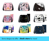 Animal Crossing Skin - Full Set Nintendo Switch Standard Skin & Sticker Decal - Green and Black Leaves, Nook Faces - New Horizons