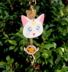 Sailor Moon Artemis Cat Keychain - Pink, Gold, White