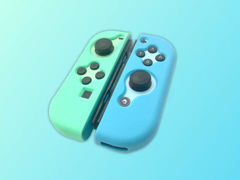 Green Blue Joy Con Case - Nintendo Switch Soft Silicone Shell Cover Protector - JoyCon Only Shell - Animal Crossing