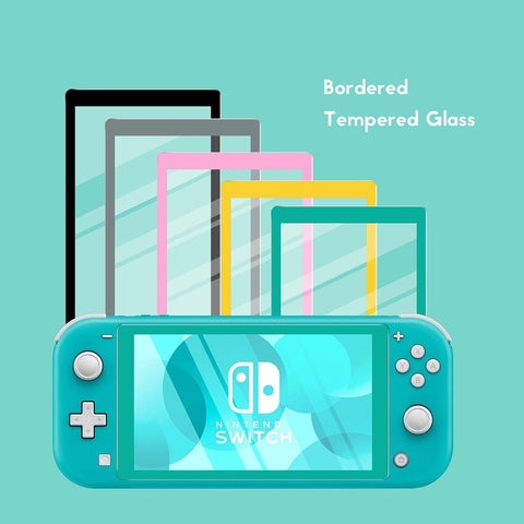 Bordered Screen Protector Switch LITE - Solid Color - Tempered Glass - Black, Gray, Pink, Yellow, Teal