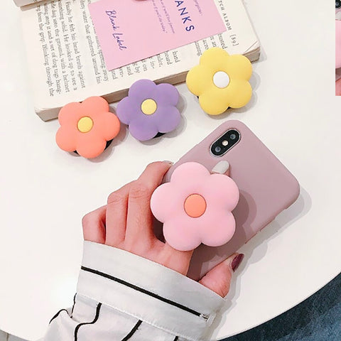 Flower Pop Socket - Pastel Pink, Yellow, Orange, Purple - Expanding Finger Kickstand