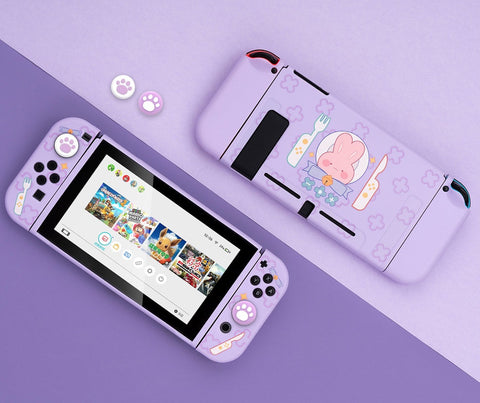 Rabbit Purple Switch Shell - Dockable Soft Pastel Nintendo Switch Standard Hard Case - Optional 4 Thumb Grips