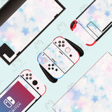 Pink Blue Flower Skin - Full Set Nintendo Switch Wrap