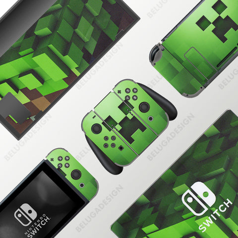 Minecraft Skin - Full Set Nintendo Switch Wrap & Sticker Decal - Green Creeper