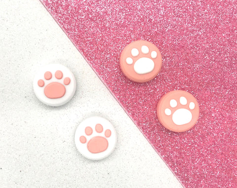Pink White Thumb Grips - Cat, Dog Paw Print for Switch