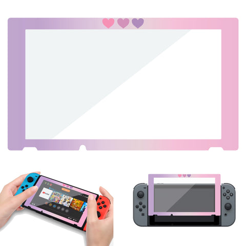 Pink Purple Nintendo Switch Screen Protector - Tempered Glass Hearts Border
