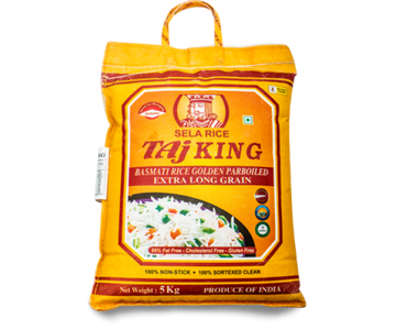 Taj King Golden Parboiled (Sella) Basmati Rice 5kg