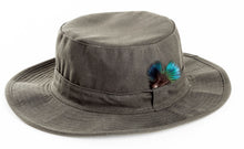 Load image into Gallery viewer, Wide Brim Wax Hat With Feather Trim
