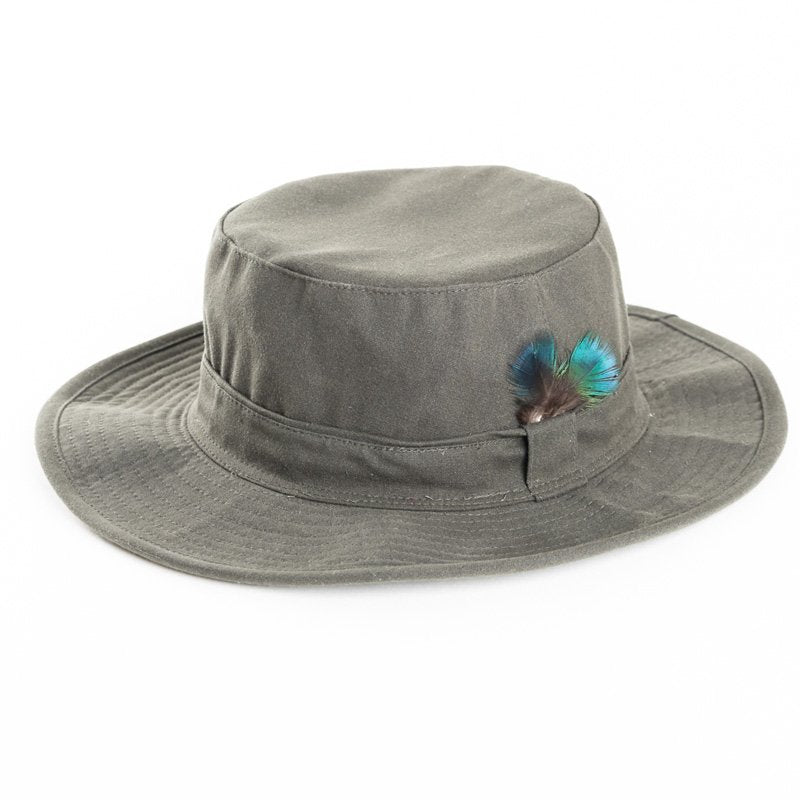 Wide Brim Wax Hat With Feather Trim