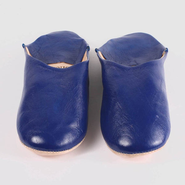 Mens Moroccan Leather Babouche Basic Slippers Cobalt
