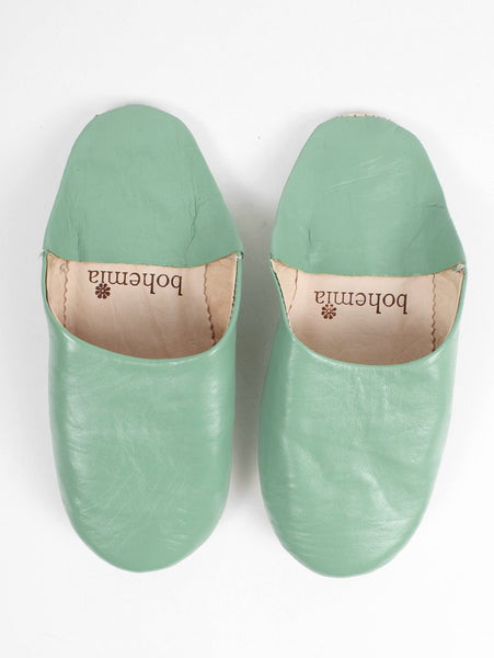 Womens Moroccan Leather Babouche Basic Slippers Sage
