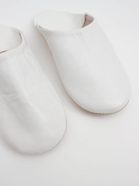 Womens Moroccan Leather Babouche Basic Slippers White