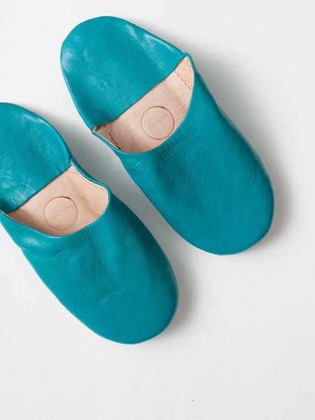 Womens Moroccan Leather Babouche Basic Slippers Aqua