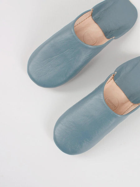 Womens Moroccan Leather Babouche Basic Slippers Blue Grey