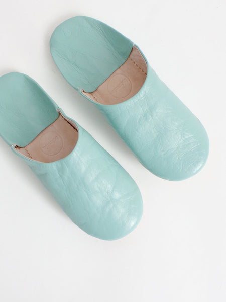 Womens Moroccan Leather Babouche Basic Slippers Duck Egg
