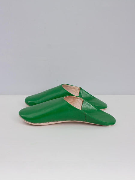 Womens Moroccan Leather Babouche Basic Slippers Green
