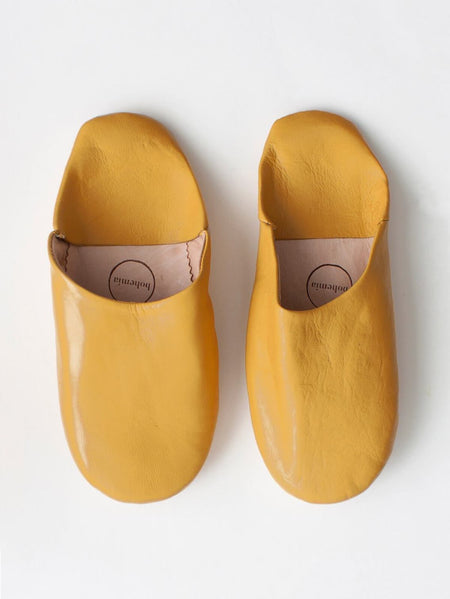 Mens Moroccan Leather Babouche Basic Slippers Olive