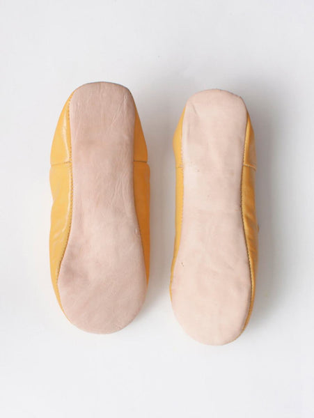 Womens Moroccan Leather Babouche Basic Slippers Mustard