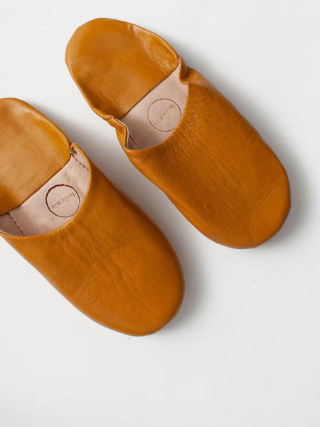 Womens Moroccan Leather Babouche Basic Slippers Ochre