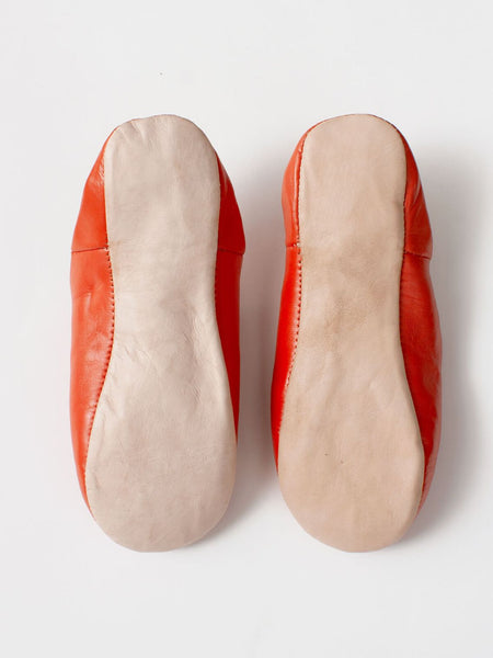 Womens Moroccan Leather Babouche Basic Slippers Orange