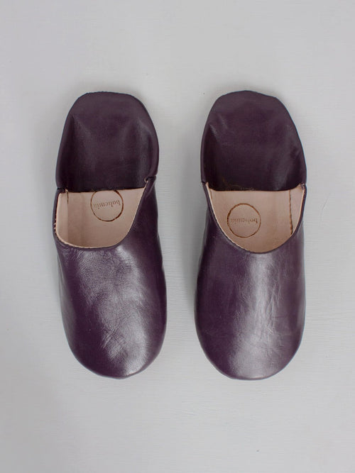 Womens Moroccan Leather Babouche Basic Slippers Plum