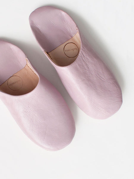 Womens Moroccan Leather Babouche Basic Slippers Vintage Pink