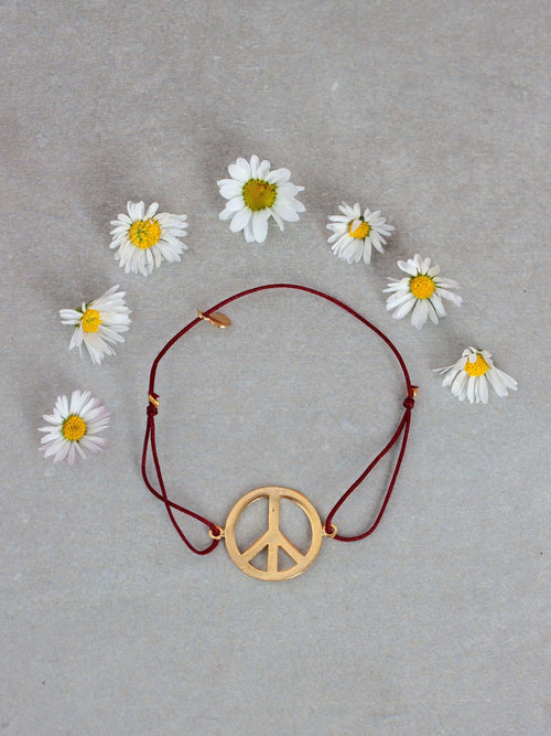 Gold Peace Bracelet Small Deep Red