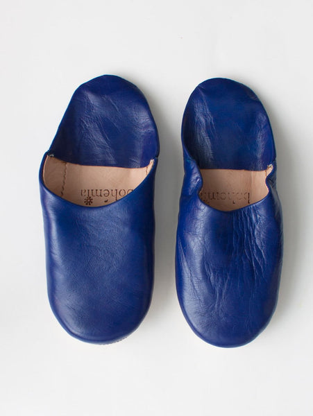 Womens Moroccan Leather Babouche Basic Slippers Cobalt