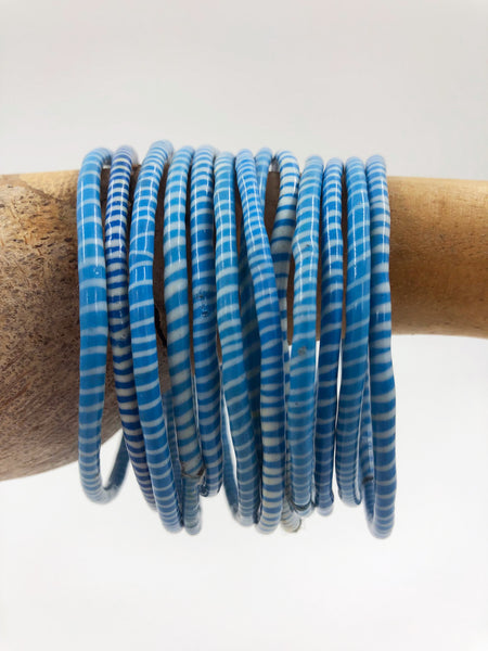 Blue Recycled Flip Flop Bracelets (Set of 6)