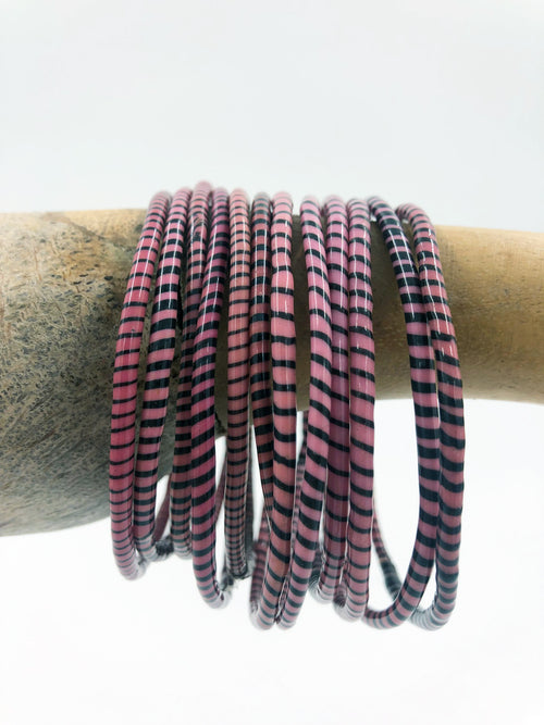 Pink Recycled Flip Flop Bracelets (Set of 6)