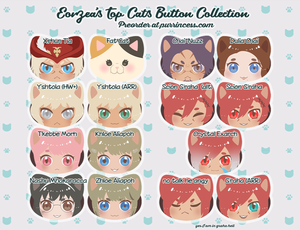 Final Fantasy XIV Miqote Cat-shaped Buttons - PREORDER