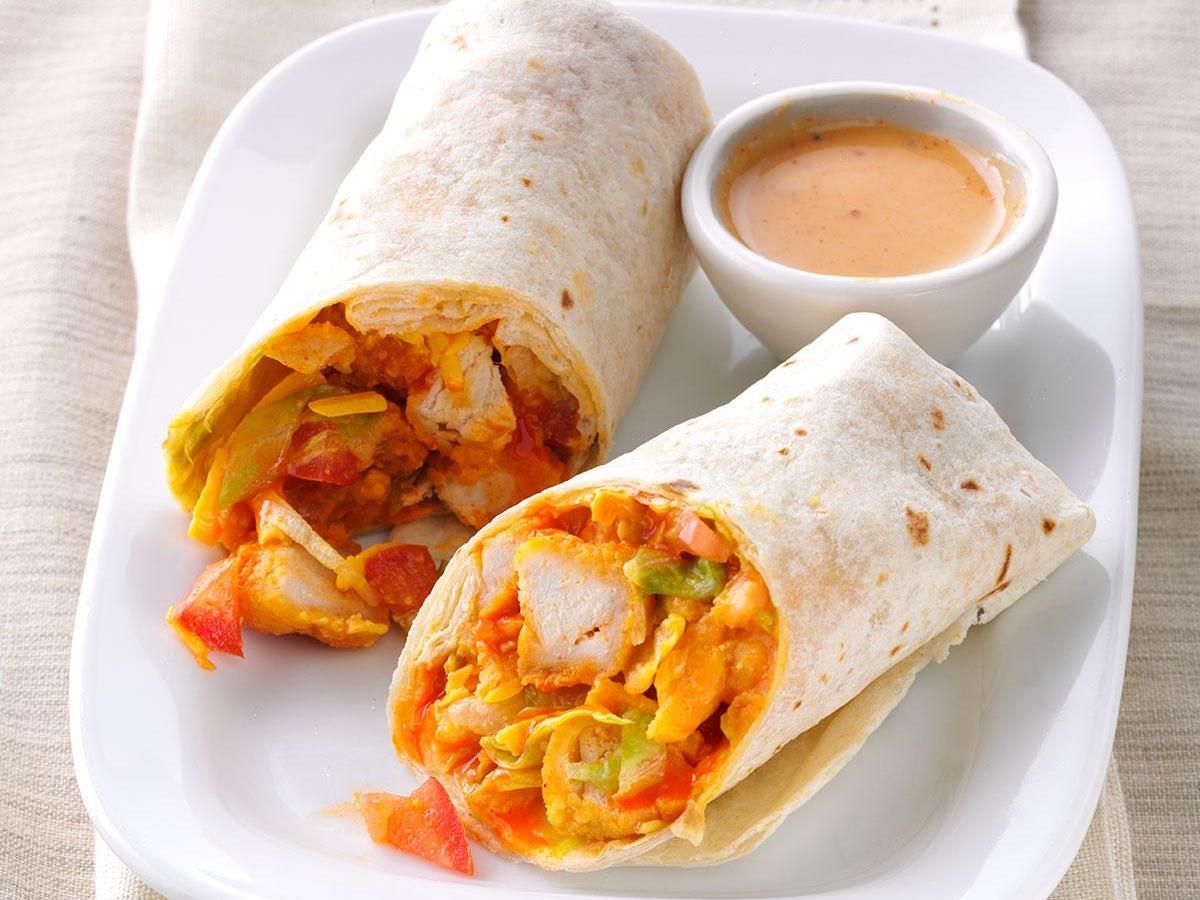 PEACH & CORN CHICKEN WRAP SANDWICHES