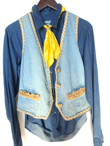Vintage David David Embroidered Denim Vest Size Small