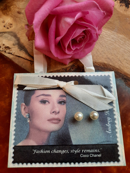 Audrey Hepburn Pearl Stud Earrings on a Postcard